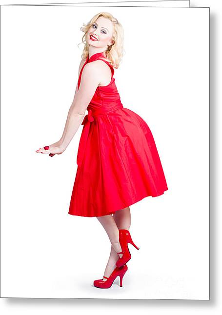Beautiful Woman Model In Red Dress And High Heels Greeting Card