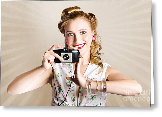 Beautiful Woman Photographer Holding Retro Camera Greeting Card