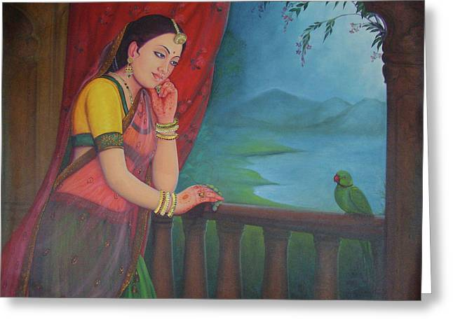 Beautiful Woman Princess Queen Waiting For Her Husband Traditional Art Oil Painting On Canvas Greeting Card
