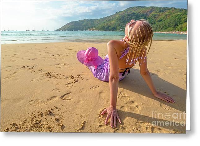 Beautiful Woman Sunbathing On Beach Greeting Card