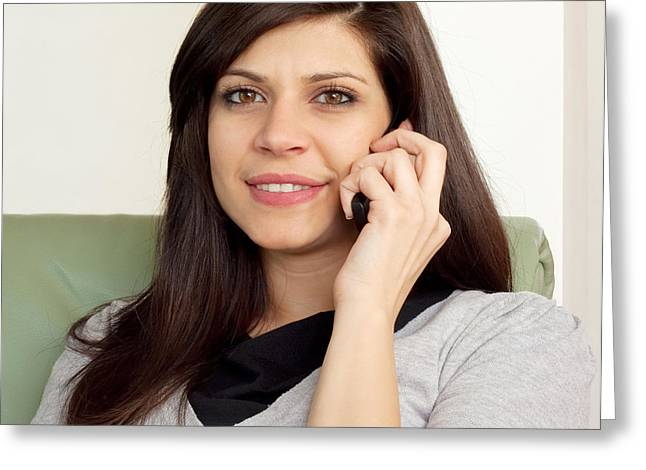 Beautiful Woman Talking On The Pfone Greeting Card by Boyan Dimitrov