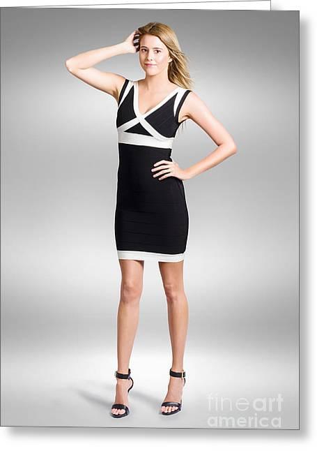Beautiful Woman Wearing Black And White Dress Greeting Card