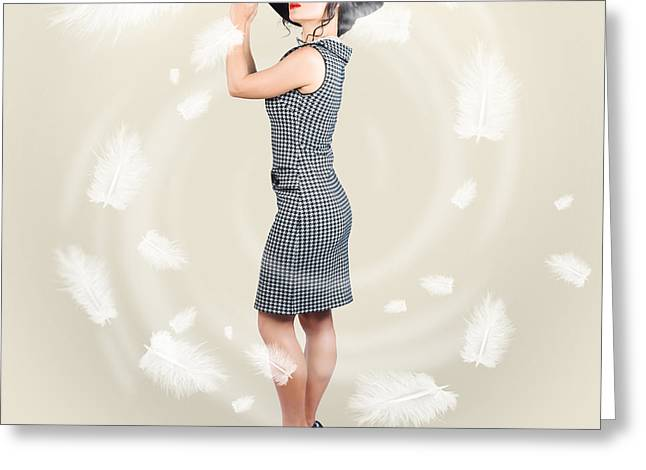 Beautiful Woman Wearing Retro Fashion Accessories Greeting Card by Jorgo Photography - Wall Art Gallery