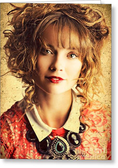 Beautiful Woman With Classic Hairstyle And Makeup Greeting Card by Jorgo Photography - Wall Art Gallery