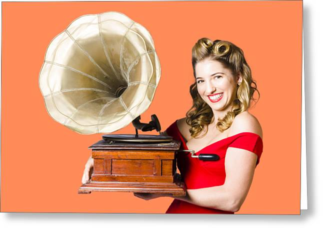 Beautiful Woman With Gramophone Isolated On White Greeting Card