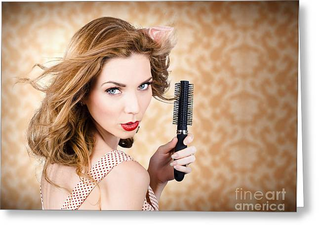 Beautiful Woman With Short Red Hair. Hairdressing Greeting Card