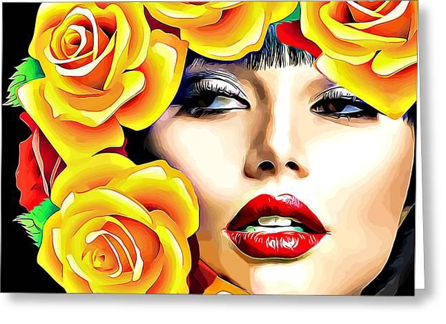 Beautiful Woman Yellow Roses Pop Art Greeting Card