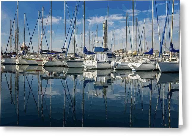 Beautiful Yachts Moored In The Marina Greeting Card