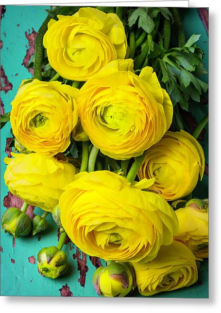 Beautiful Yellow Ranunculus Greeting Card by Garry Gay