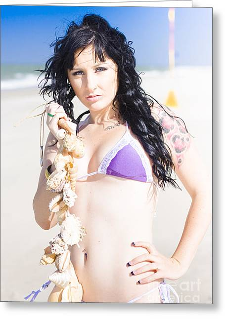 Beautiful Young Woman On The Beach Greeting Card by Jorgo Photography - Wall Art Gallery