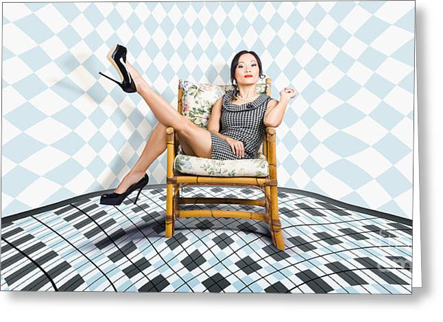 Beautiful Young Woman Sitting In A Trendy Shoes Greeting Card by Jorgo Photography - Wall Art Gallery