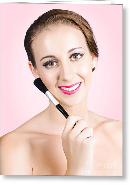 Beautiful Young Woman Wearing Natural Day Make-up Greeting Card
