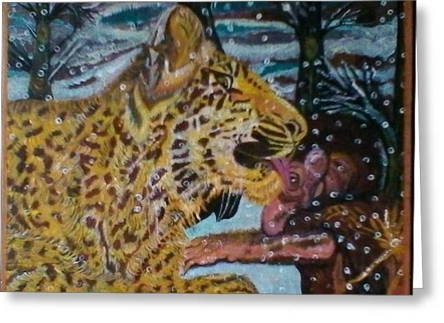 Beautifully Acrylic Handmade Painting Incredible Love Of Young Leopard And Baby Baboon Greeting Card by Shamila Khan