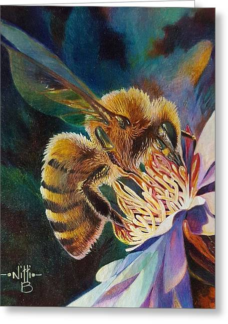Beauty And The Bee Greeting Card by NJ Brockman