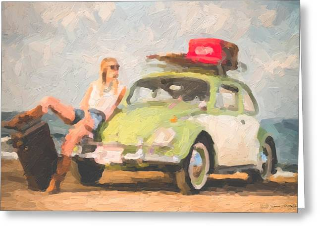 Greeting Card featuring the digital art Beauty And The Beetle - Road Trip No.1 by Serge Averbukh