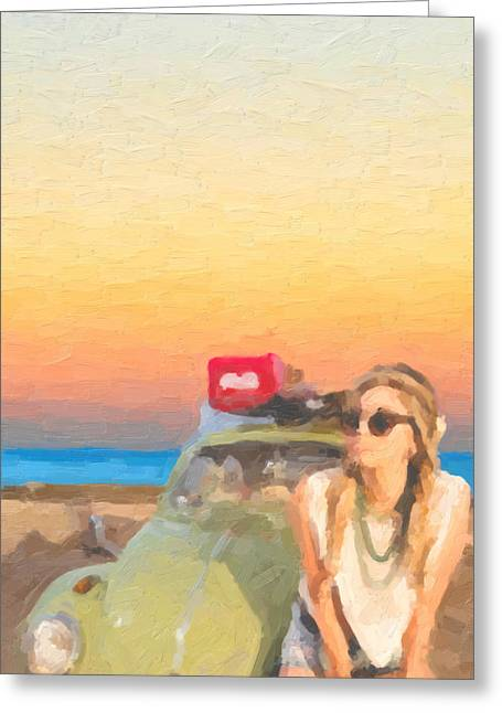 Greeting Card featuring the digital art Beauty And The Beetle - Road Trip No.2 by Serge Averbukh