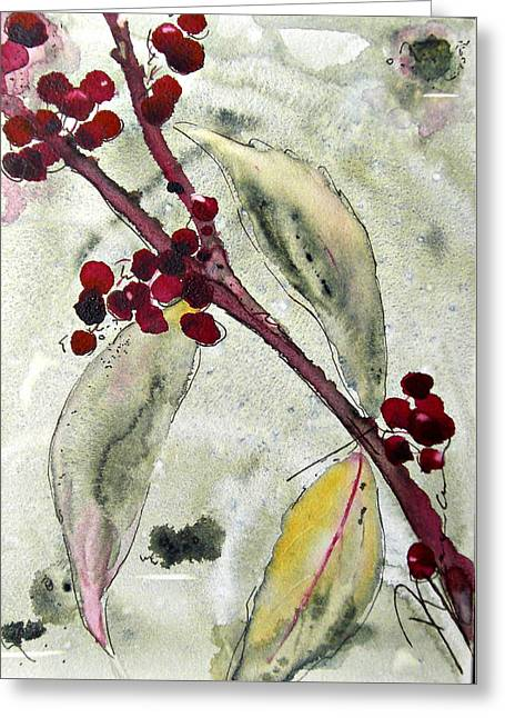 Beauty Berry Branch Greeting Card by Dawn Derman