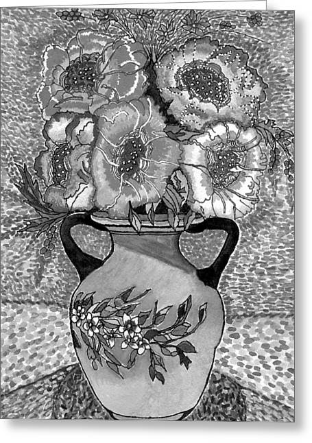 Beauty Black And White Greeting Card by Connie Valasco