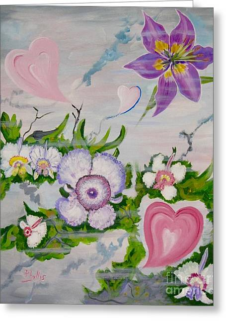 Beauty In The Breeze  Happy Valentines Day Greeting Card by Phyllis Kaltenbach