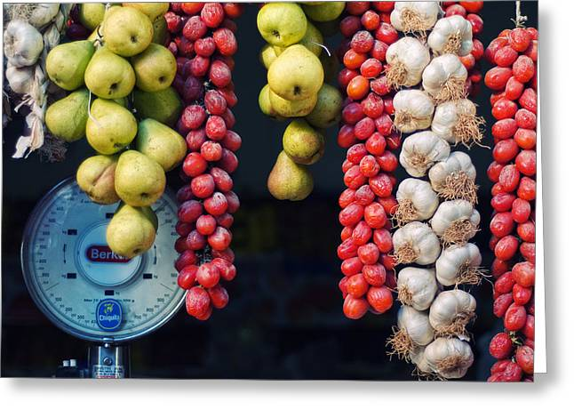 Beauty In Tomatoes Garlic And Pears Greeting Card by Silvia Ganora