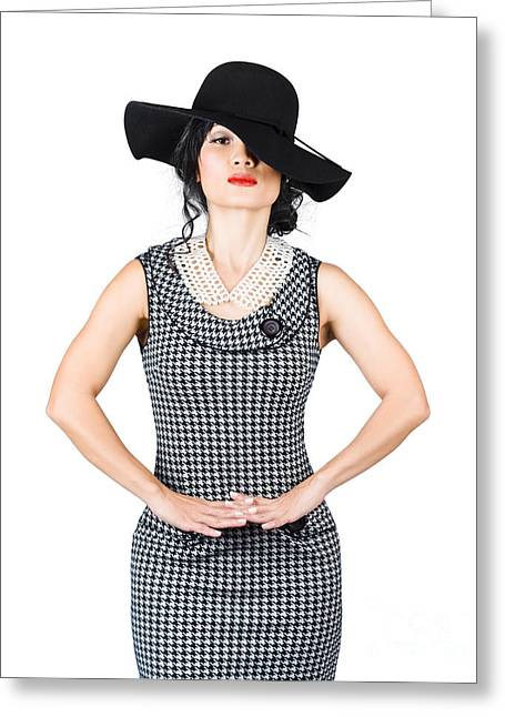 Beauty Model Posing In Classy Outfit With Hat Greeting Card by Jorgo Photography - Wall Art Gallery