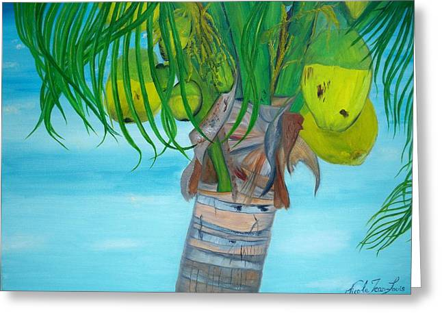 Greeting Card featuring the painting Beauty Of A Coconut Palm Tree by Nicole Jean-louis
