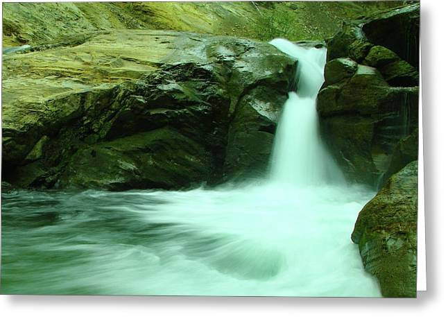 Beauty Of A Small Waterfall Greeting Card by Jeff Swan