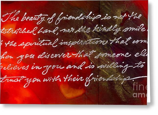 Beauty Of Friendship Greeting Card by Angela L Walker