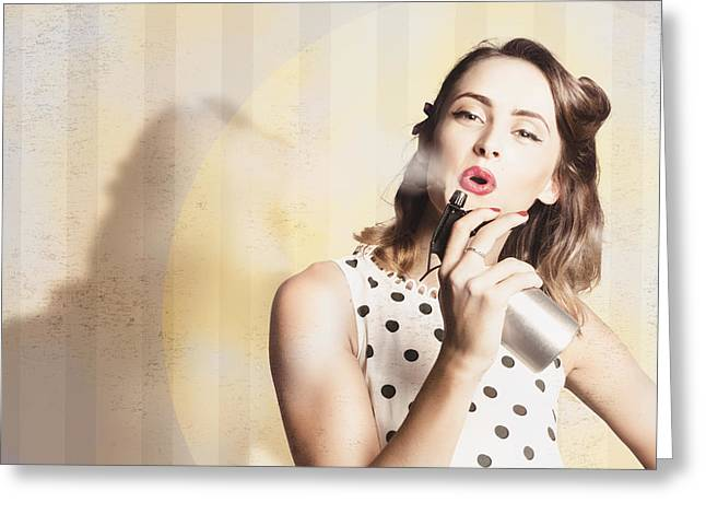 Beauty Parlour Pinup Greeting Card by Jorgo Photography - Wall Art Gallery