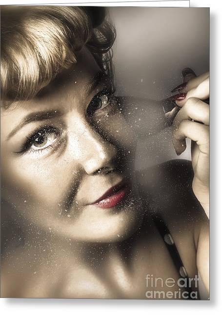 Beauty Pin-up Woman Applying Makeup Greeting Card by Jorgo Photography - Wall Art Gallery