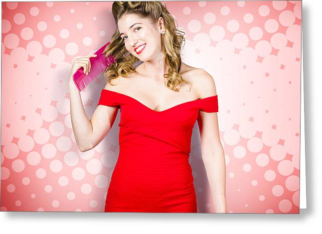 Beauty Pinup Model Straightening Rolled 50s Hair Greeting Card