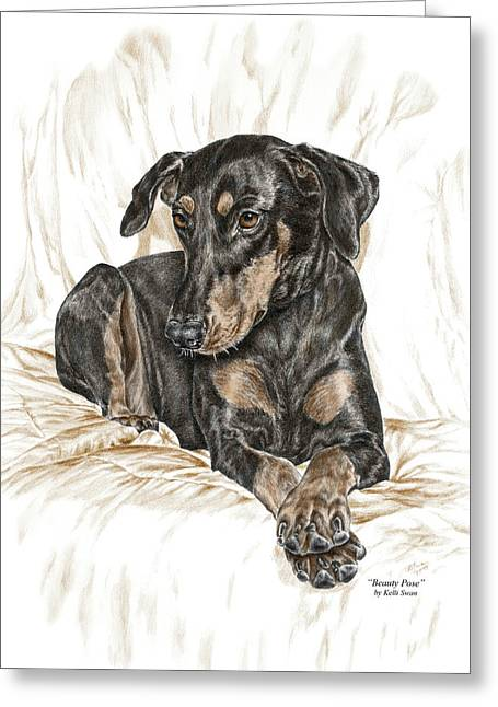 Beauty Pose - Doberman Pinscher Dog With Natural Ears Greeting Card by Kelli Swan