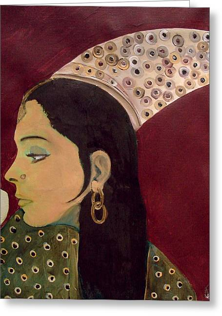 Greeting Card featuring the mixed media Beauty Queen Of The Mughals by Saad Hasnain