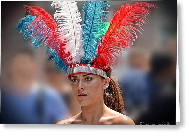 Beauty With A Feathered Headdress Greeting Card