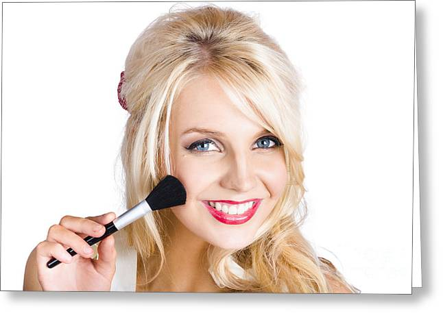 Beauty Woman Applying Beautiful Model Makeup Greeting Card