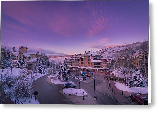 Beaver Creek Village Sunset Greeting Card by Michael J Bauer