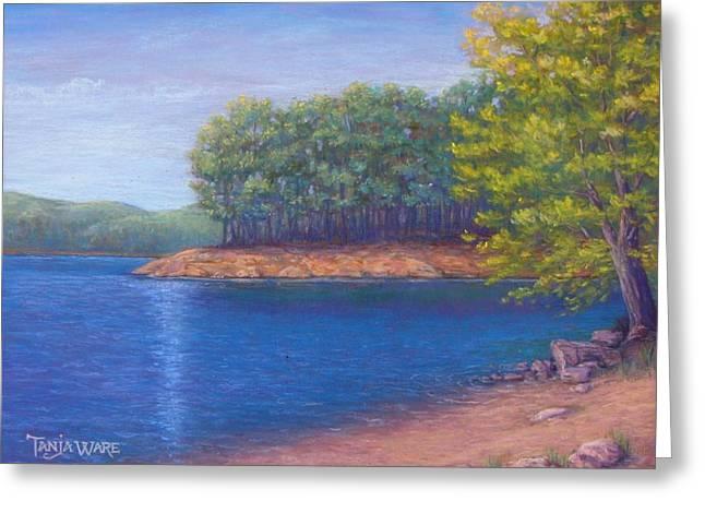 Beaver Lake Blue Greeting Card by Tanja Ware