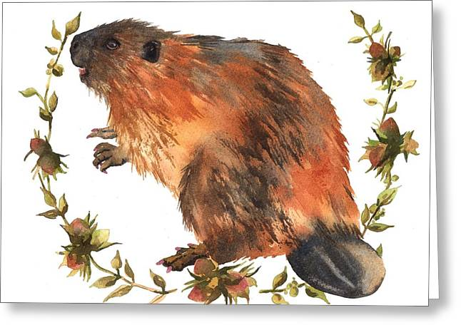 Beaver Painting Greeting Card by Alison Fennell