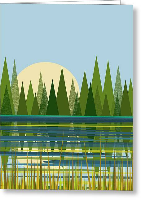 Beaver Pond - Vertical Greeting Card by Val Arie