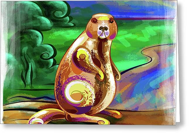 Beaver Pose Greeting Card by Bedros Awak
