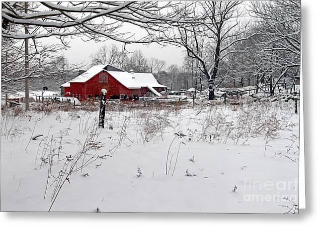 Beaver River Road Barn Greeting Card by Jim Beckwith