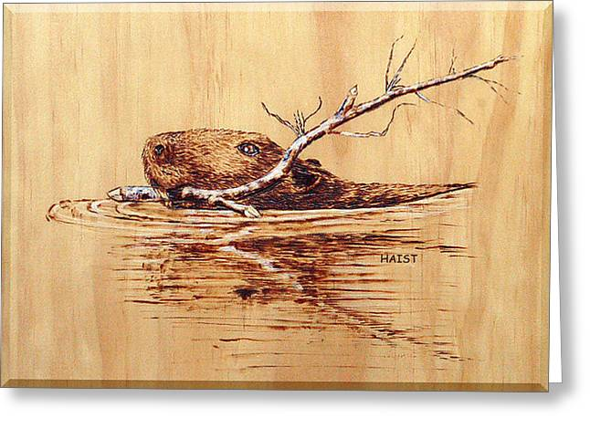 Greeting Card featuring the pyrography Beaver by Ron Haist