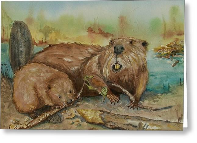 Gnawing Greeting Cards - Beavers Greeting Card by Barbara McGeachen