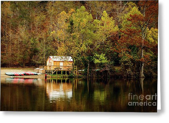 Beaver's Bend Canoe Hut Greeting Card by Tamyra Ayles