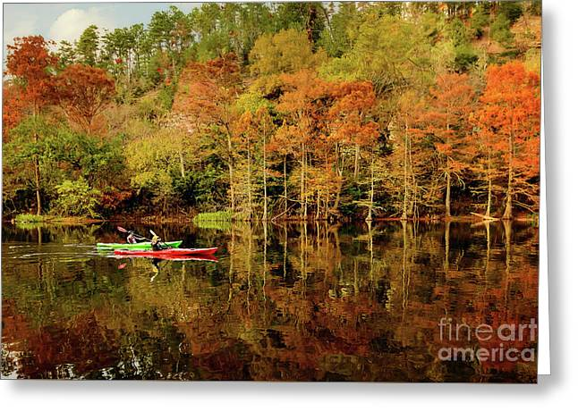 Beaver's Bend Canoeing Greeting Card by Tamyra Ayles