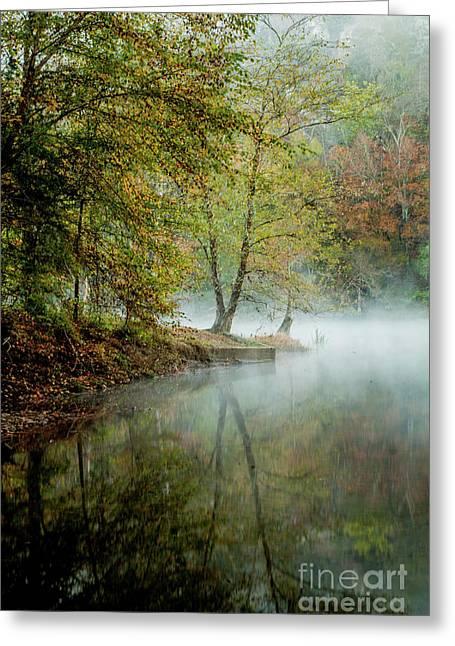 Beavers Bend Creek Misty Morning Greeting Card by Iris Greenwell