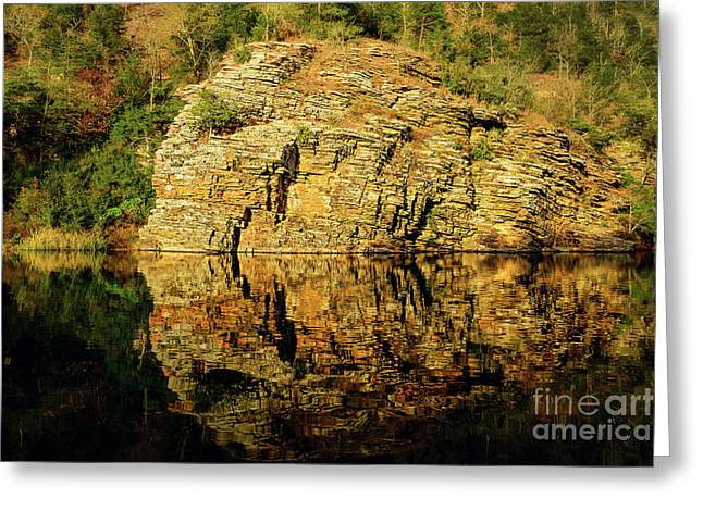 Beaver's Bend Rock Wall Reflection Greeting Card by Tamyra Ayles