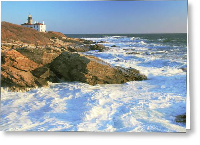 Beavertail Point And Lighthouse  Greeting Card