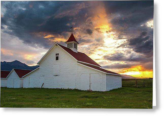 Beckwith Ranch At Sunset With Crepuscular Rays And Virga Greeting Card