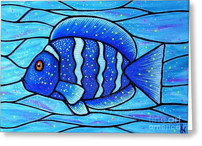 Beckys Blue Tropical Fish Greeting Card by Jim Harris